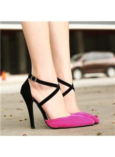 Graceful  Contrast Color Cross Ankle Strap Point Toe Stiletto Heels