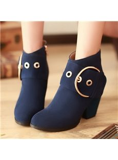 Graceful Genuine Leather Buckle Decorated Ankle Boots
