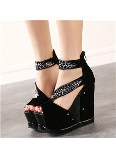 Graceful Korean Style Rhinestone Wedge Sandals