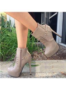 Graceful Lace-UP Platform Ankle Boots
