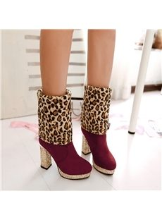 Graceful Leopard Print Chunky Heels Boots