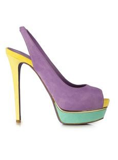 Graceful Purple Peep-toe Platform Stiletto Heels with Buckle