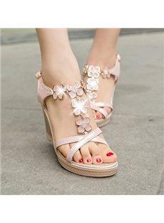 Graceful Rhinestone Flower Wedge Sandals