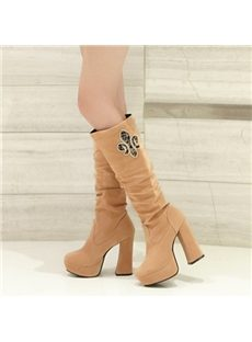 Graceful Rhinestone Knee High Boots