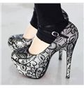 Gray Flower Print High Heel Shoes