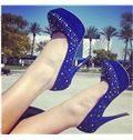 Grogeous Blue Suede Platform High Heel Shoes with Rivets Decoration