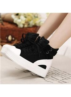 High Platform  Lace-up Canvas Shoes