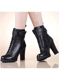High Quality Lace-Up Chunky Heel Boots