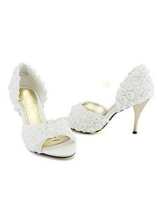 High Quality Stiletto Heel Peep Toe With Roses Prom Shoes