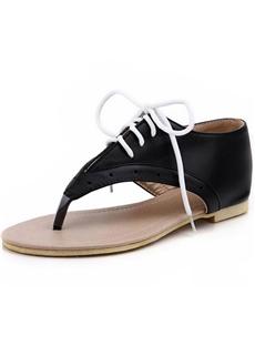 Hot Sale  Black PU Flip Flops Lace-up Sandals