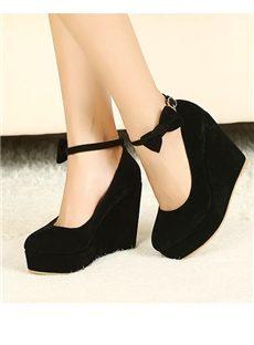 Hot Sale Black  Wedge Heels with Bowtie