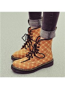 Hot Sale Checked Denim Flat Boots