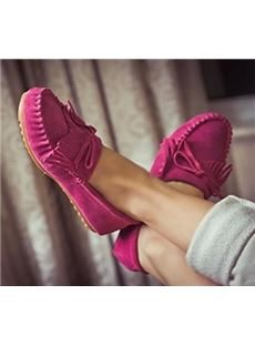 Hot Selling Candy Colour Genuine Tassel Flat Heel Shoes