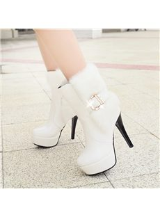 Hot Selling Contrast Color Feather Ankle Boots