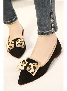 Hottest Solid Color Point Toe Leopard Bowknot Flats