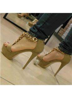 Impressive Cloth Metal Chain Platform Sandals