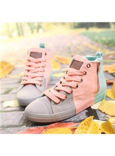 Korean Style Contrast Color Lace-Up Canvas Shoes