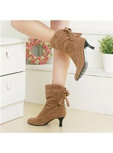 Korean Style Nubuck  Pointed Toe  Ankle Boots