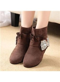 Korean Style Rhinestone Bowknot Flat Boots