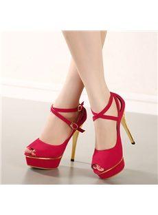 Ladylike Ankle Strap Peep-Toe Heels