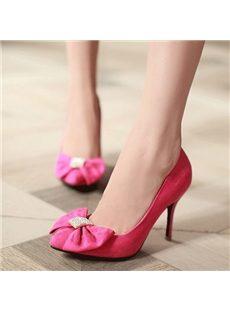 Ladylike Bowknot & Rhinestone Stiletto Heels