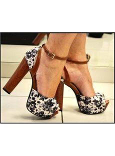 Ladylike Flower Print Ankle Strap Chunky Peep-Toe Heels