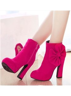 Ladylike Solid Color Ankle Boots with Bowknot