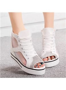 Leisure Rhinestone Lace-Up Wedge Sandals