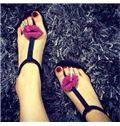 Lip Rhinestone Flat Sandals