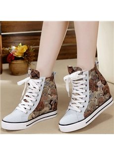 Lovely Little Bears High-Top Canvas Shoes
