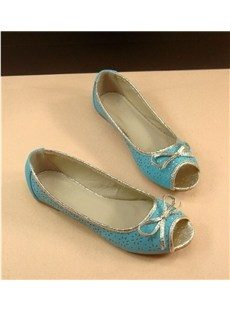Lovely Simply Peep Toe Flat Shoes with Bows