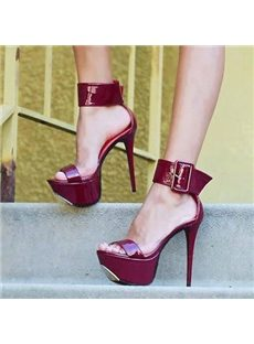 Magnificent Solid Color Buckle Ankle Wrap Platform Sandals