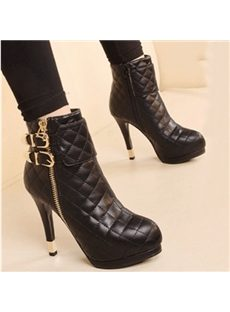 Mature Lady Buckle & Zipper Ankle Boots
