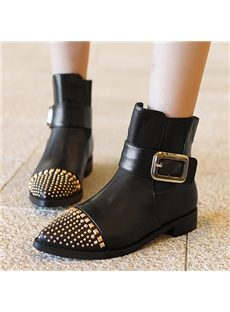 Most Popular Genuine Leather Rivets Decorated Flat Boots