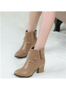 Multi Color Button Chunky Ankle Boots