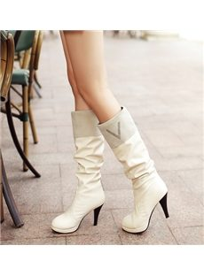 Multi Color Patchwork Rhinestone Knee High Boots