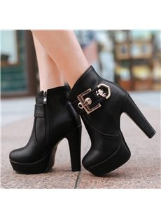 Multi-Colour Buckle Chunky Heel Ankle Boots