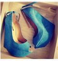 New Arrival Blue Suede Wedge Heel Shoes