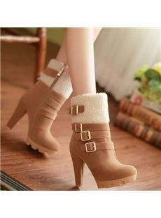 New Arrival Buckle Chunky Heel Boots