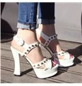 New Arrival Chunky Heel Coppy Leather Rivets High Heel Sandals
