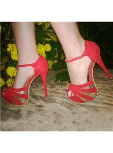 New Arrival Contrast Color Peep-Toe Suede Platform Sandals