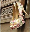 New Arrival Flower Print Peep Toe High Heel Shoes