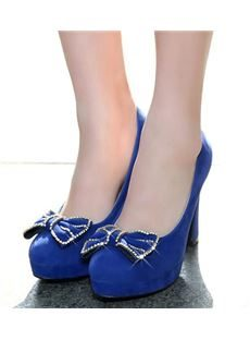 New Arrival Genuine Suede Platform High Heel Shoes with Bowtie Decoration