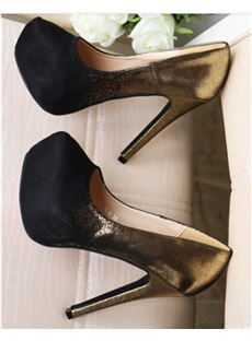 New Arrival Golden & Black Contrast Colour Coppy Leather High Heel Shoes