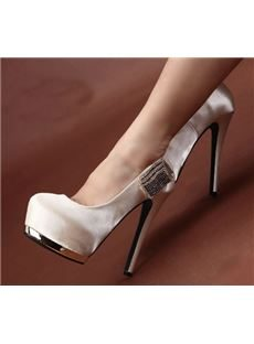 New Arrival Pink PU Rhinestone Decoration High Heel Shoes
