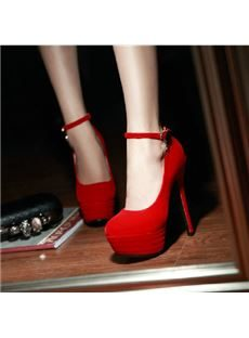 New Arrival Red Suede Ankle Strap Round Toe High Heel Shoes