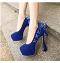 New Arrival Suede Lace-Up Bowtie Platform High Heel Shoes