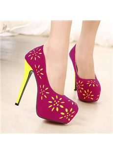New Arrival Sweet Suede Flower-Print Platform Stiletto Heels
