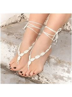 New Arrival White Hand-Woven Foot Ornaments