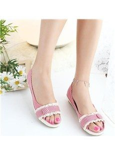 New Cute Cloth Upper Peep Toe Flat Heels Shoes